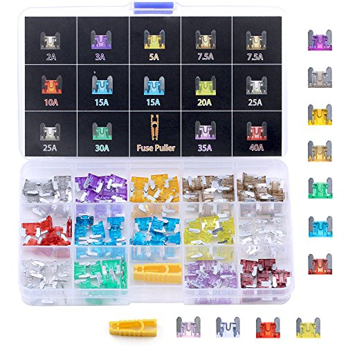 Winlyn Micro Mini Blade Fuse Assortment 140pcs Assorted Auto Car Truck 2 3 5 7.5 10 15 20 25 30 35 40AMP Car Boat Truck SUV Automotive Replacement Fuses - Low Profile Mini Small APS / ATT Blade Fuses