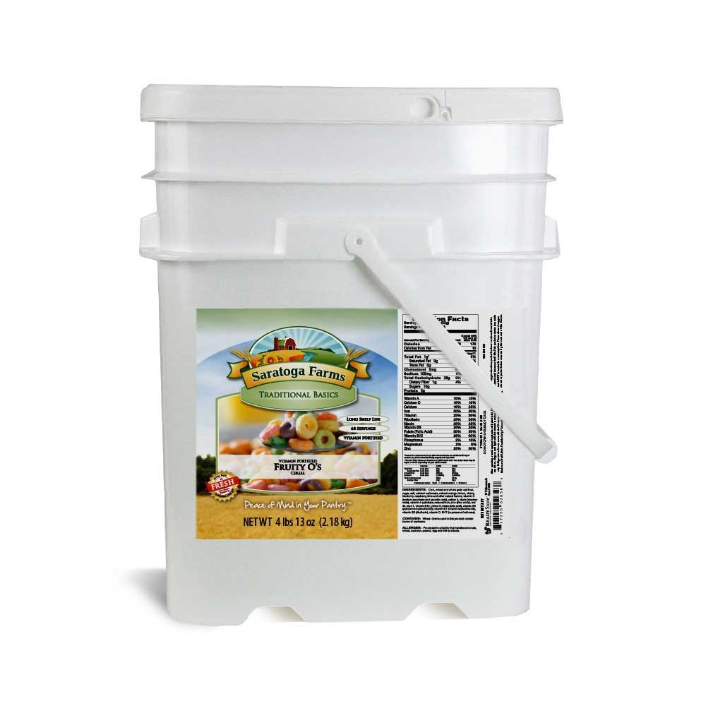 Saratoga Farms Fruity O's Cold Cereal in a 5-Gallon Stackable Bucket, 4.8lbs and 68 Total Servings of Bulk Cereal, #1 Emergency Food Storage With 10-20 Year Shelf-Life