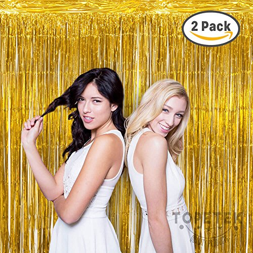 Tinsel Foil Fringe Curtain Gold - Set of 2 Pack, 3.2 ft x 9.8 ft Metallic Tinsel Curtain Backdrop Perfect for Photo Booth, Wedding, Birthday Party Decorations