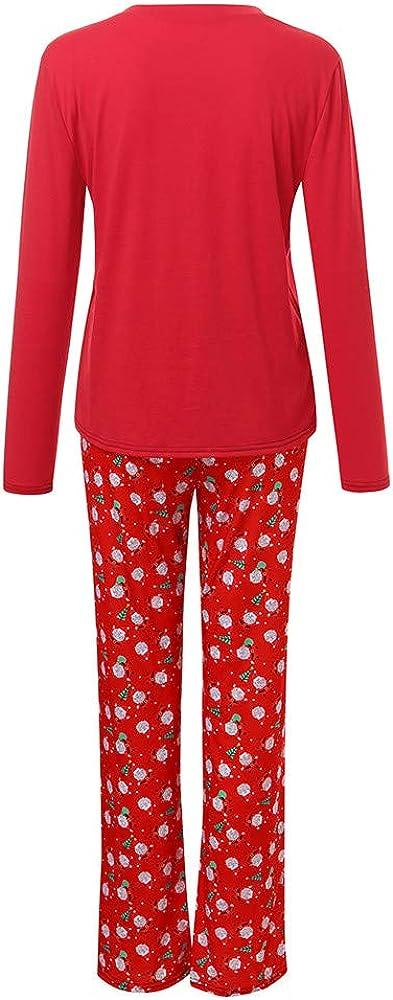 XEDUO Family Christmas Pajamas 2Pcs Santa Claus T Shirt Tops Pants Xmas Clothes Set