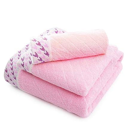 SYXLTSH Toalla Toalla de baño algodón Grueso Absorbente Suave Tres Piezas Rosa