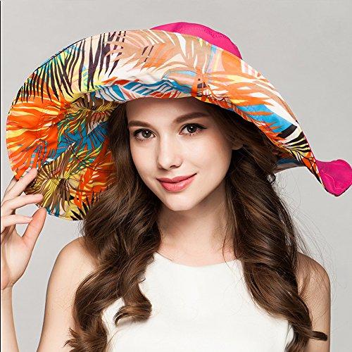 Womens Hats Caps - Garrelett Double-sided Large Brim Floppy Foldable Sun Hat Canvas Visor Beach Cap for UV Protection Rose Red