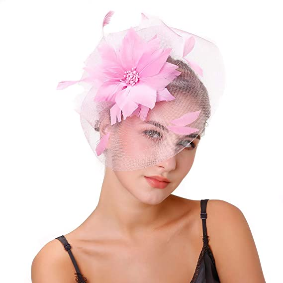 ddc906fd86e49 Fascinators Hat Hair Clip Mesh Ribbons Feather Flowers Vintage Elegant  Bride Headwear Cocktail Tea Party Wedding
