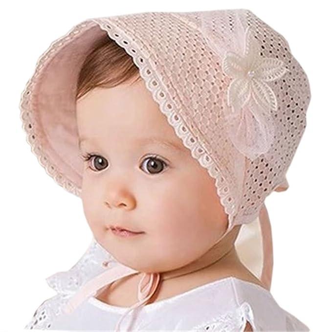 HBF Cappellino Neonata Elegante Accessori per Bambina Berretto Cotone Rosa  cappello Bambina Vintage Adatto per Primavera Estate   Autunno Taglia Unica   ... 96d6f692d1d7