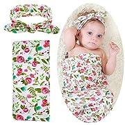Collsants Newborn Baby Receiving Blanket Headband Set Swaddle Blanket Cotton (Rose)