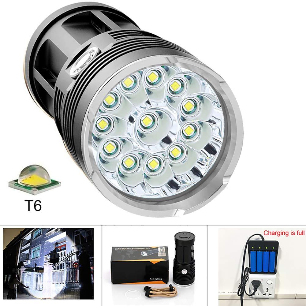 OLDF 42000 Lumen Taschenlampe, Akku-LED-Arbeit Light,12T6 LED-Outdoor-Hochleistungs-wasserdichtes Blitzlicht für die Fischerei mit 4  18650 Battery + Ladegerät