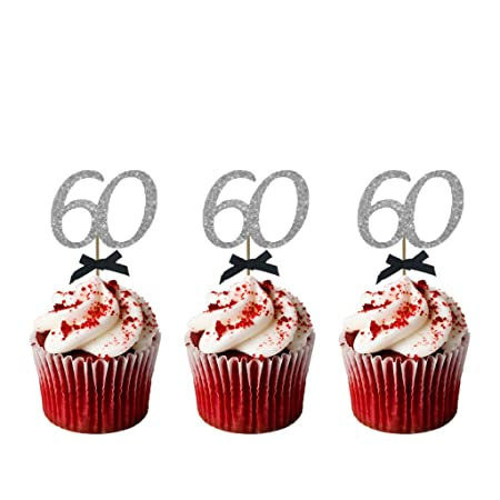 LissieLou 60th Birthday Cupcake Toppers