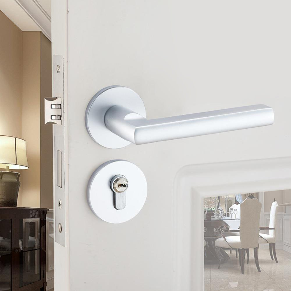 Daeou Aluminum alloy split door lock handle lock space aluminum bedroom bathroom locks