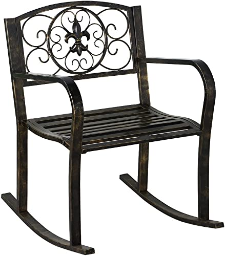 YAHEETECH Metal Patio Rocking Chair Heavy Duty Rocking Chair Front Porch Outdoor Patio Rocker Seat Cart Bronze
