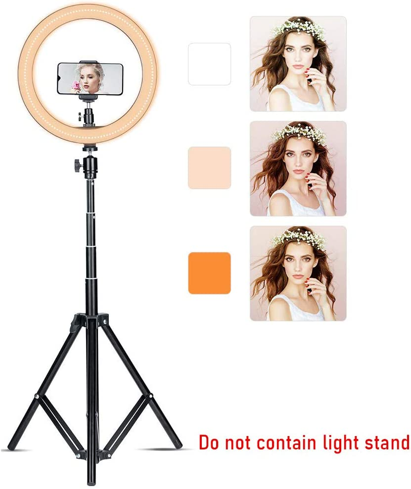 YouTube Video,Shooting with 3 Light Modes Compatible with iPhone//Android BEIYANG 12 LED Ring Light with Flexible Phone Holder for Selfie Dimmable Desk Makeup Ringlight for Live Streaming