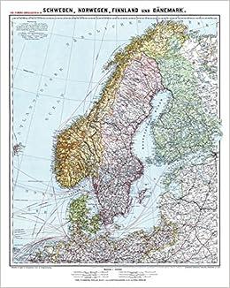 Historische Karte Schweden Norwegen Finnland Und Danemark Um