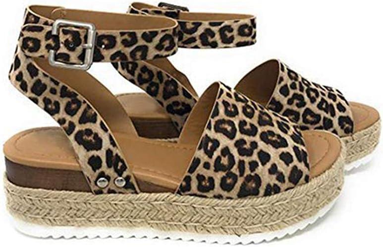 CUTEKOLVE Womens Leopard Wedges Sandal
