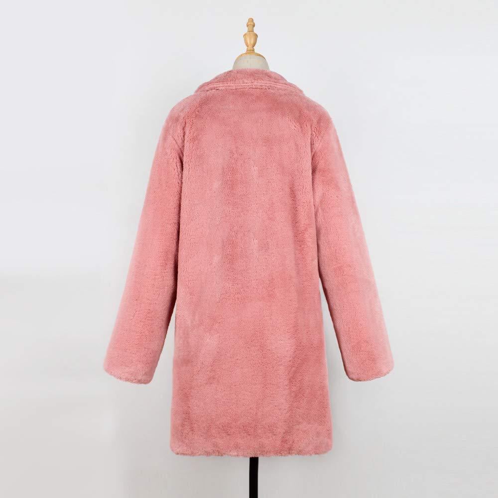Lazzboy Womens Coat Parka Jacket Faux Fur Warm Fluffy Notch Collar Dual Pocket Solid Outerwear