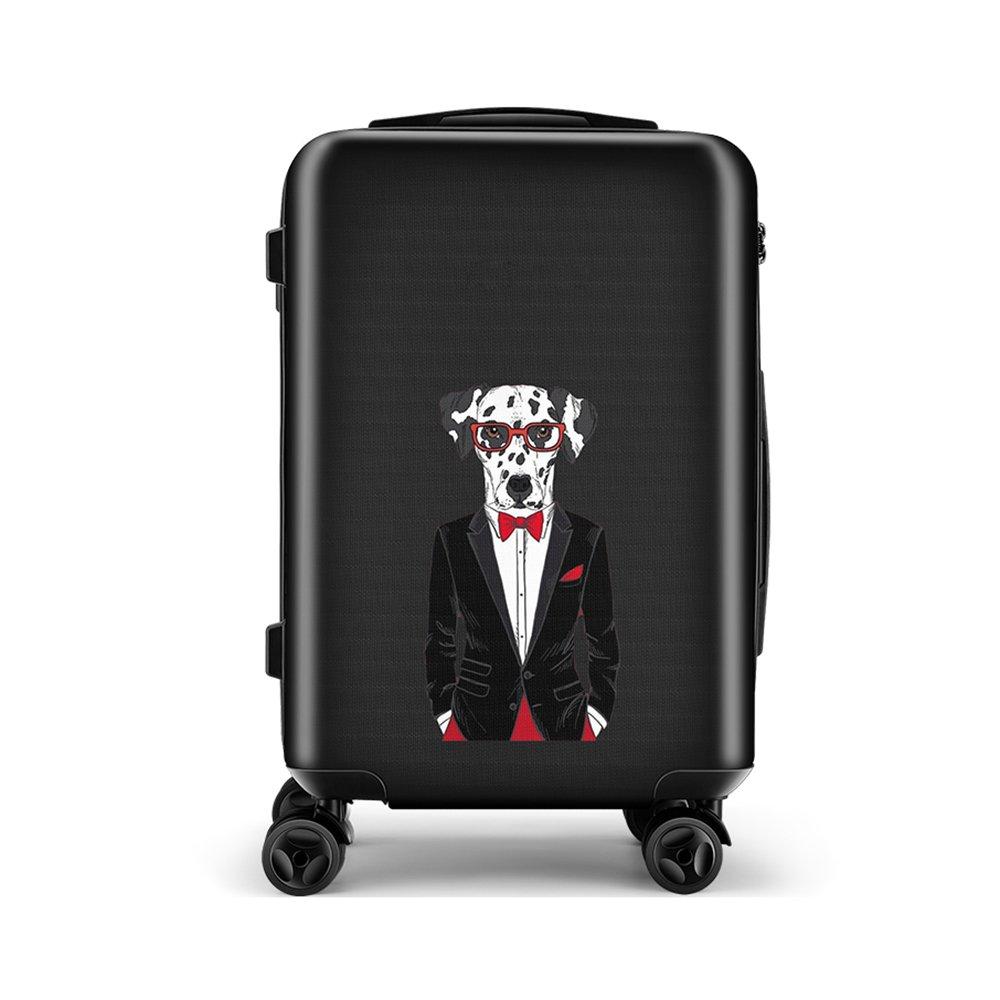 20'' Adult Or Child Carry On Luggage Mr. Dog Waterproof Travel Spinner Suitcase 4 Wheels TSA (Mr. Dog-04, Black)