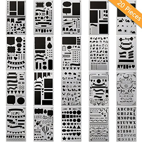 20 PCS Bullet Journal Stencil Plastic Planner Set for Journal/Notebook/Diary/Scrapbook DIY Drawing Template Journal Stencils 4x7 (Planner Template)