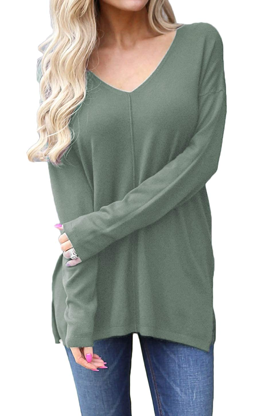 Newchoice Women's V-Neck Side Split Long Sleeve Tshirts Loose Blouse Casual Tunic Top