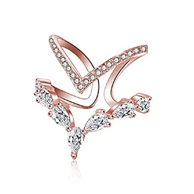 ce4c563da02c8 KAVANI 18K Rose Gold Cubic Zirconia Ring CZ V Ring Open Adjustable Heart  Princess Ring for Women