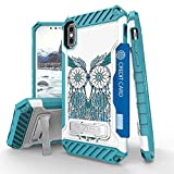 Iphone X Case, Trishield Durable Shockproof High Impact Rugged Armor Phone Cover With Detachable Lanyard Loop Card Slot Built In Kickstand For Iphone X - Blue Owl Dream Catcher
