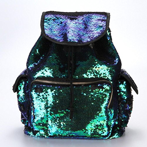 FashionDouble Soft Backpack Cute Mermaid Fashion Sports Bling Bag Backpack Drawstring School Bag LILICAT Sequin Backpack Color Bag Girls Casual Women Bag Green Shining Ct1EWqwv