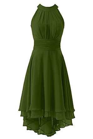 e4ad34b8d1b Kevins Bridal Women s High Low Short Bridesmaid Dresses Chiffon Halter Prom  Dress Army Green Size 2