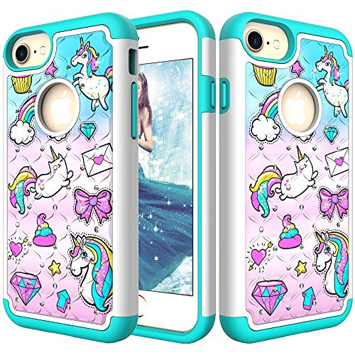 Hard Plastic Case Bling (for iPhone 6/6S Glitter Case,QFFUN Bling Crystal Diamonds Soft Silicone + Hard Plastic Back Hybrid Double Layer Shockproof Antiscratch Protective Cover with Screen Protector - Diamond Unicorn)