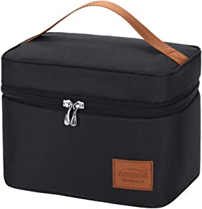 Aosbos Lunch Box Bag for Women Men Insulated Cooler Bags Thermal Food Containers Meal Prep Organizer 7.5L Black