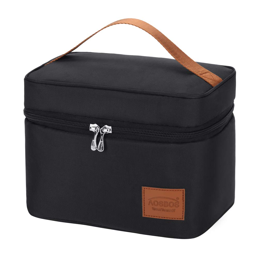 Aosbos Insulated Lunch Bag 6.5L Men Black