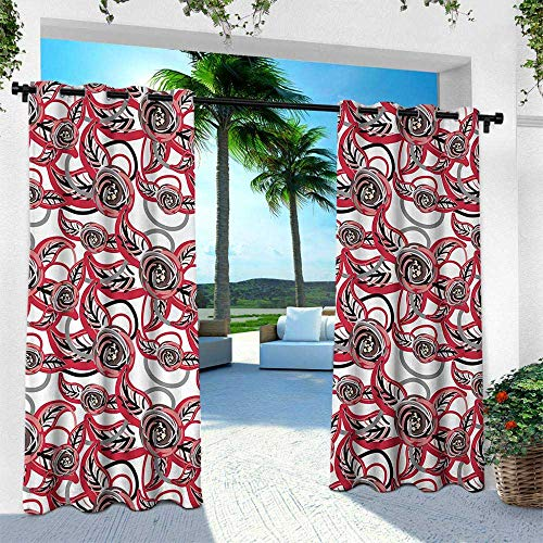 Hengshu Flower, Outdoor Curtain for Patio,Outdoor Patio Curtains,Artistic Blossoms with Paintbrush Effects Rich Seasonal Foliage Nature Inspired, W96 x L96 Inch, Multicolor