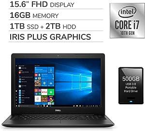 "Dell Inspiron 15 3593 2020 Premium 15.6"" FHD Laptop, 10th Gen 4-Core Intel Core i7-1065G7 1.3 GHz, 16GB RAM, 1TB SSD + 2TB HDD,Iris Plus Graphics,No DVD,Webcam,HDMI, Win 10,500GB USB 3.0 External HDD"