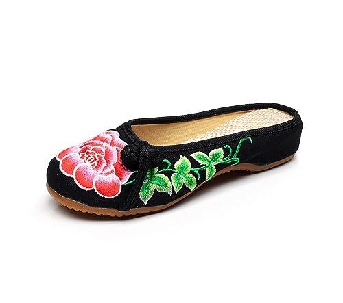 Zapatos Chinos de Tela de Viento Bordado Zapatillas de Verano, Negro, 35