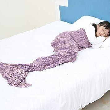Manta Cola De Sirena Precioso Saco De Dormir Niños Hilados De Punto Sirena Cola Manta Hecho