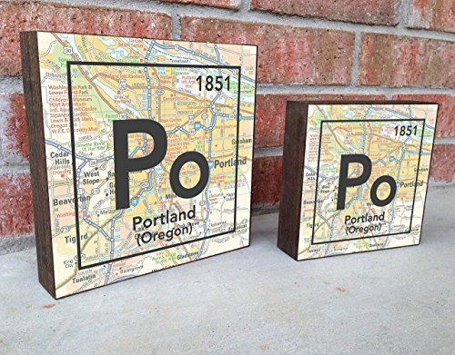 (Portland Oregon Po City Vintage Periodic Chart Map Art Print on Wooden Block, Home & Wall Decor, Wedding-Housewarming - Birthday - Valentines Day - Christmas gift for her)