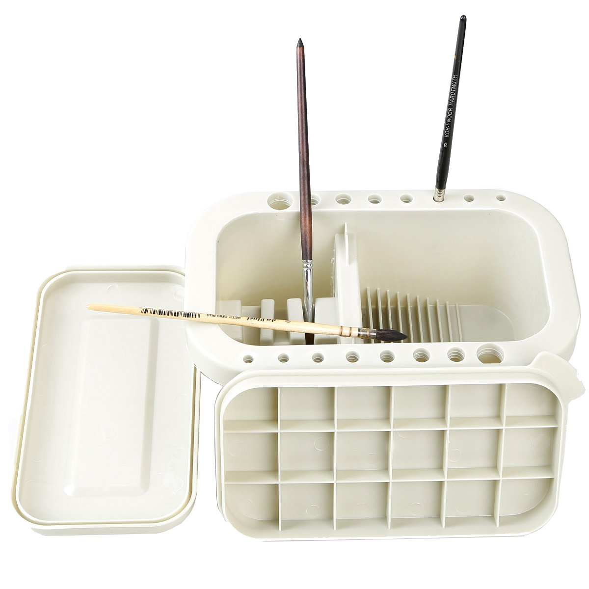 MyLifeUNIT Multifunction Paint Brush Basin with Brush Holder and Palette 4336938469