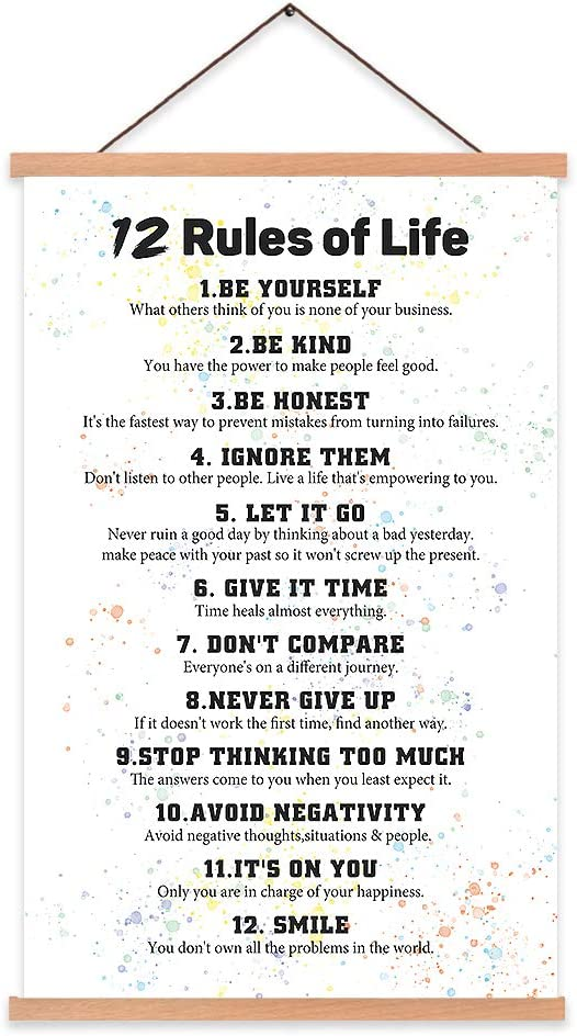"KAIRNE 12 Rules Of Life Inspirational Quote Art Print With With Wood Magnetic Poster Hanger Framed, Watercolor Motivational Hanging Wall Art,15.8""X25"" Positive Word Canvas Painting For Home,Office,Classroom Decor"