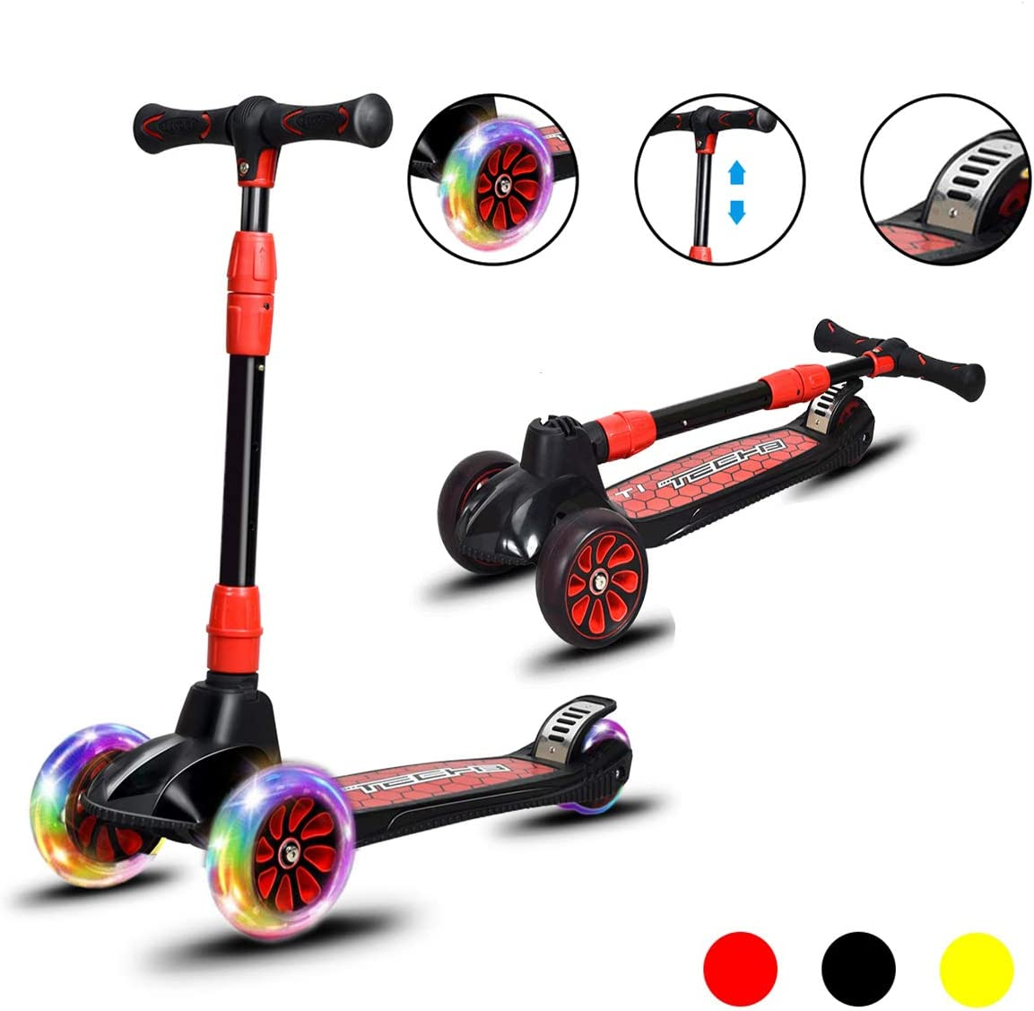 Costzon Folding Kick Scooter for Kids, Featuring Extra-Wide Non-Slip Deck, Deluxe 3 PU LED Light Wheels Scooter, 4 Adjustable Height Handle, for Boys Girls from 4 to13 Years Old