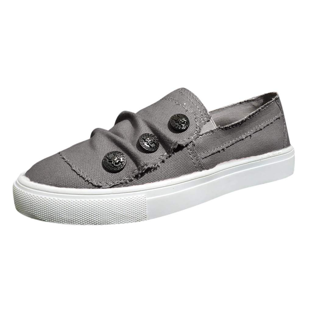 Bravetoshop Women's Peas Beach Flats Shoes Summer Casual Cowboy Canvas Single Loafers Sneakers(Gray,39) by Bravetoshop