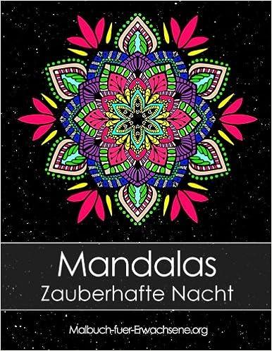 Malbuch Für Erwachsene Mandalas Auf Schwarzem Hintergrund