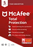 McAfee Total Protection 2020, 5 Device, Antivirus Internet Security Software, Password Manager, Privacy, 1 Year - Key…