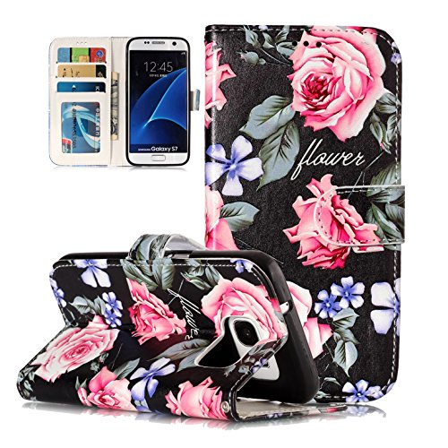 (Galaxy S7 Case, Ranyi [Flip Magnetic Wallet] [Cute Painting Pattern] [Card Holder/ID Slot] [Kickstand Feature] Premium PU Leather Folio Purse Case for Samsung Galaxy S7 (2016 Release), peony)