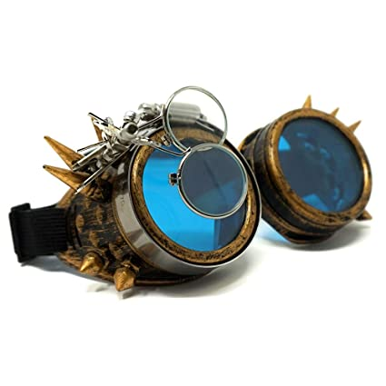 ce728a71716 Amazon.com  Colonel Pickles Novelties Steampunk Goggles – Glasses with Blue  Lenses As Accessories Or Sunglasses  Toys   Games