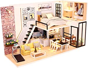 ROOMLIFE DIY Tiny Dollhouse Beginner 3D DIY Dollhouse kit DIY Dollhouse Kits for Adults Manual Educational Girls Toy with LED Light&Dust Proof Wooden House DIY Miniature Dollhouse Kit 1/24 Scale
