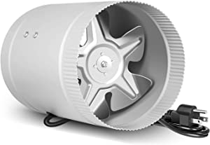 iPower GLFANXBOOSTER6V2 6 inch 174 CFM Booster Fan Inline Duct HVAC Exhaust Vent Blower, Low Noise Grounded Power Cord, Silver