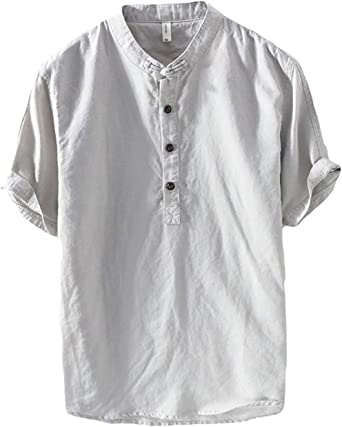 Verano Camisa De Lino Hombre Suelta Casual Transpirable Top De Manga Corta Camisas Sin Cuello De Color Sólido Blusas De Trabajo: Amazon.es: Ropa y accesorios