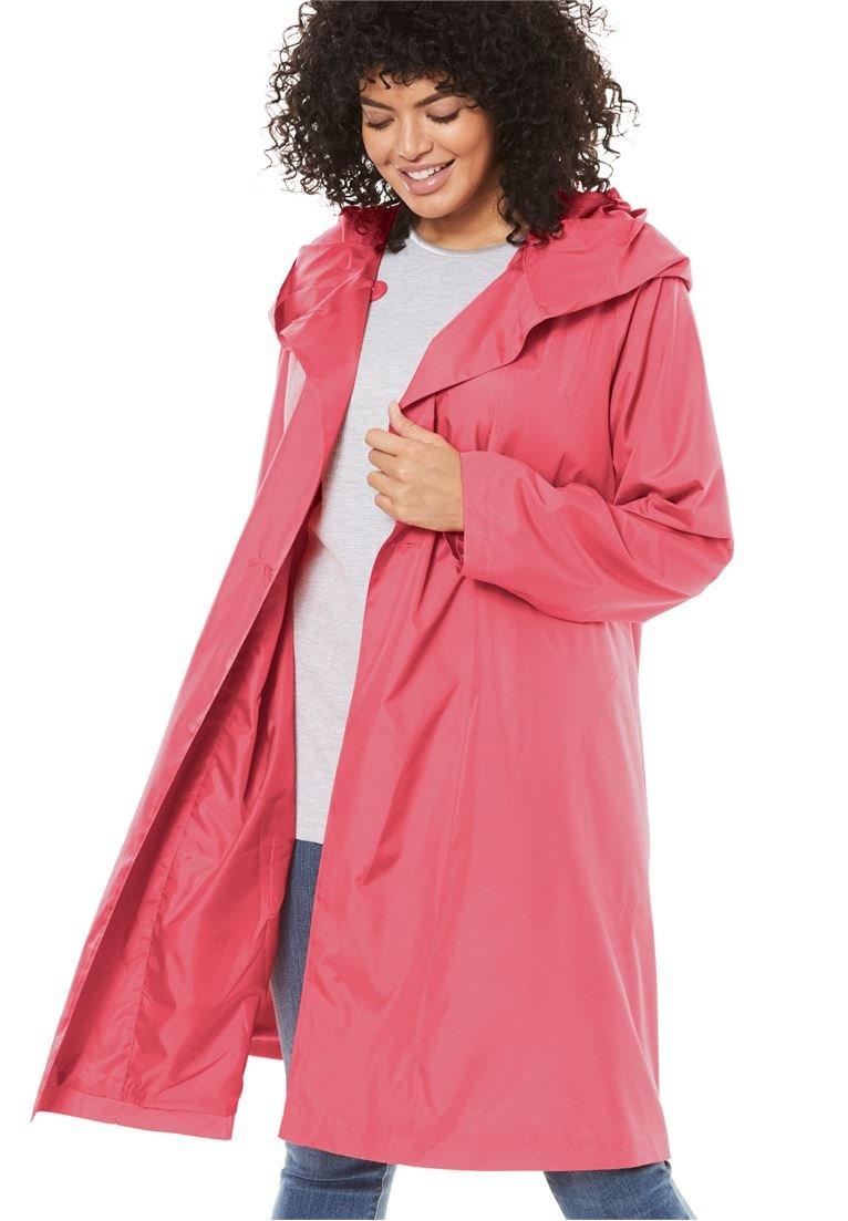 Women's Plus Size Packable Water-Resistant Hooded Raincoat with Zip Bag