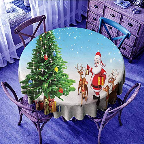 Santa Picnic Cloth Reindeer with Jingle Bells Gather Around Father Christmas Festive Tree with Presents Banquet Round Tablecloth Multicolor Diameter 60