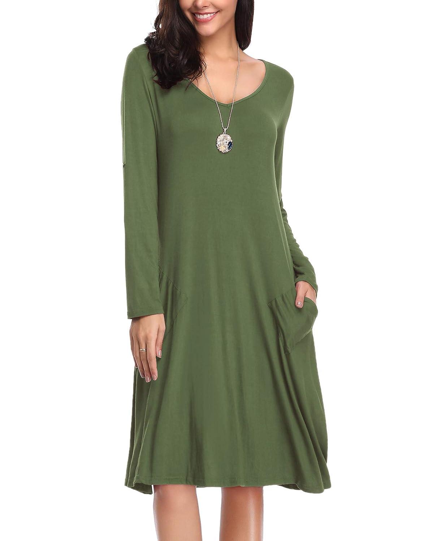 Leoray Womens Long Sleeve Pockets Casual Loose Swing T Shirt Dress