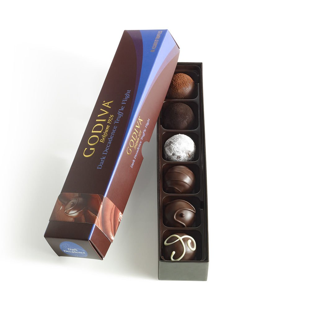 Godiva Chocolatier Assorted Dark Decadence Truffle Flight, Great for Gifting, Dark Chocolate Truffles, 6 pc