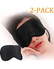 Silk Sleep Mask, 2 Pack Sleeping Eye Mask, Blindfold for Travel, Vacation, Shift Work, Naps, On The Plane 100% Natural Silk (One Strap Design)