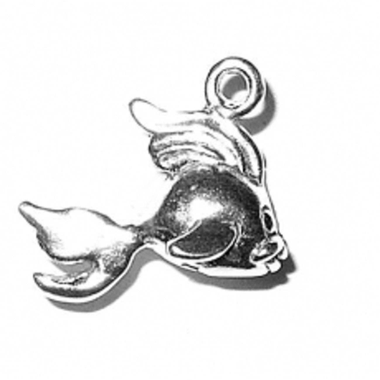 Sterling Silver Girls .8mm Box Chain 3D Swimming Fantail Fish Pendant Necklace