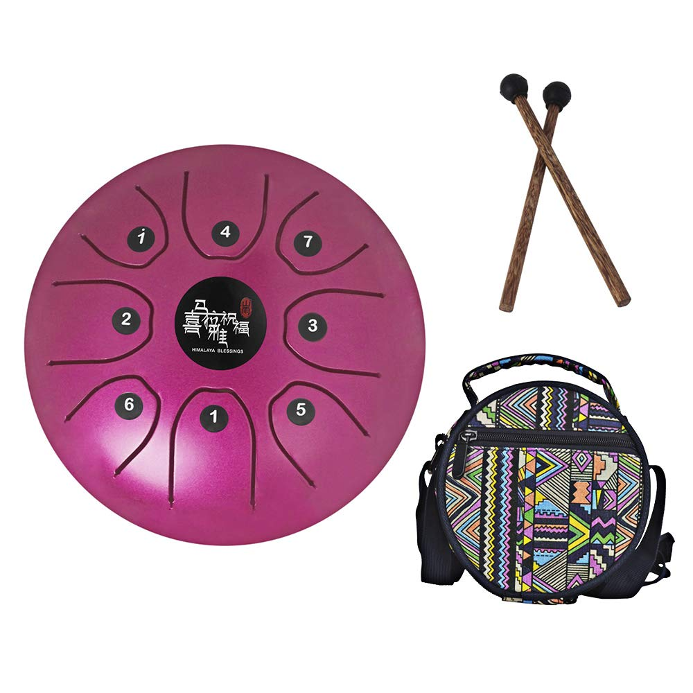 Mowind Steel Tongue Drum Tank Drum C Key 8 Notes 5.5 Inch Percussion Instrument with Drum Mallets Carry Bag Purple